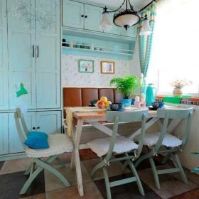 綠色家居收納小戶型餐桌餐椅地中海做舊風格小餐廳效果圖大全