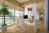 偌大的阳台划分为书房与休闲区