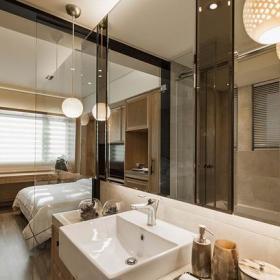 原木風衛生間洗手盆圖片