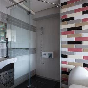 明麗可愛現代復式衛生間瓷磚效果圖