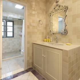 清爽歐式140平四居衛生間洗手臺設計效果圖