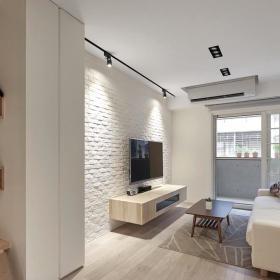 簡練現代三居室客廳電視背景墻效果圖