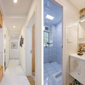 現代簡約四居室衛生間洗手臺走廊效果圖