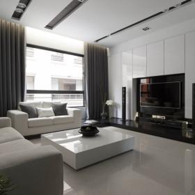 現代簡約別墅客廳電視背景墻裝修效果圖