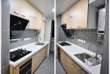 三延米的斑馬木紋櫥柜,配上黑色的電器,白色的石英石