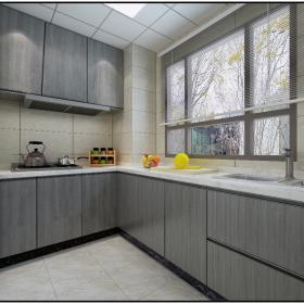 156平時尚北歐風三居之廚房格局設計效果圖