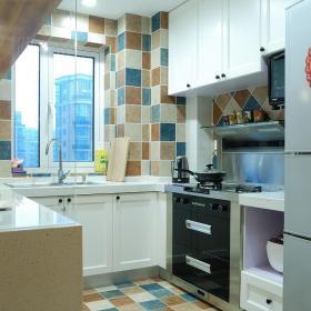 美式現代兩居室廚房地磚效果圖