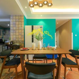 90平北歐風格兩居室之廚房餐廳整體效果圖