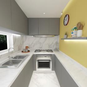 90㎡簡約風格大改造之廚房整體設計效果圖