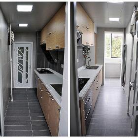 鋁扣板吊頂里配的是LED燈。北邊的小陽臺打算放冰箱