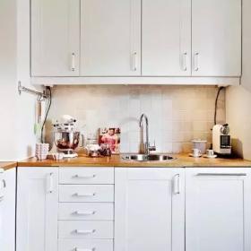 清新雅致北歐復式公寓之廚房櫥柜效果圖