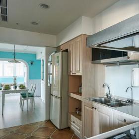現代水色田園兩居室U型廚房設計