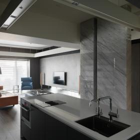142平简约风格公寓客厅与厨房一体装修效果图