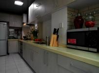130平米混搭風三居之廚房大體格局設計效果展示