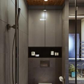 62㎡工業風單身公寓之衛生間馬桶設計效果圖