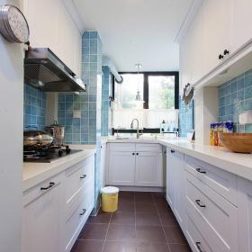 76平美式風復式兩居廚房格局設計效果圖