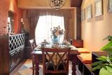 休閑貴氣美式三居餐廳仿古磚效果圖