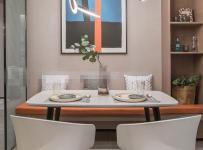 89㎡現代簡約三居餐廳燈飾裝飾效果