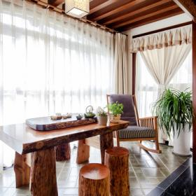 新中式三居室阳台桌椅装饰