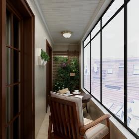 100平舒适简约三居之阳台整体布置效果图