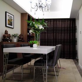 溫馨簡約餐廳窗簾圖片