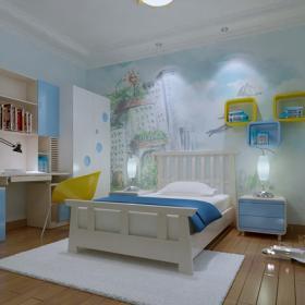 现代三房蓝色儿童房装修