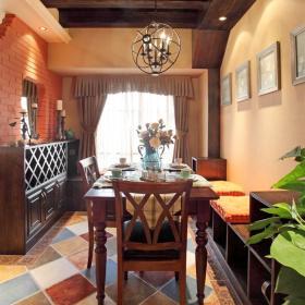 休闲贵气美式三居餐厅仿古砖效果图