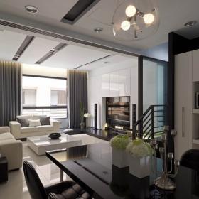 現代簡約別墅客廳吊頂裝修效果圖