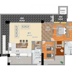 簡約自然兩居室設計效果圖之戶型設計圖