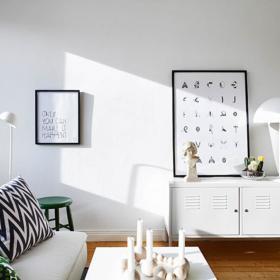 清新簡約風80平一居室客廳一角