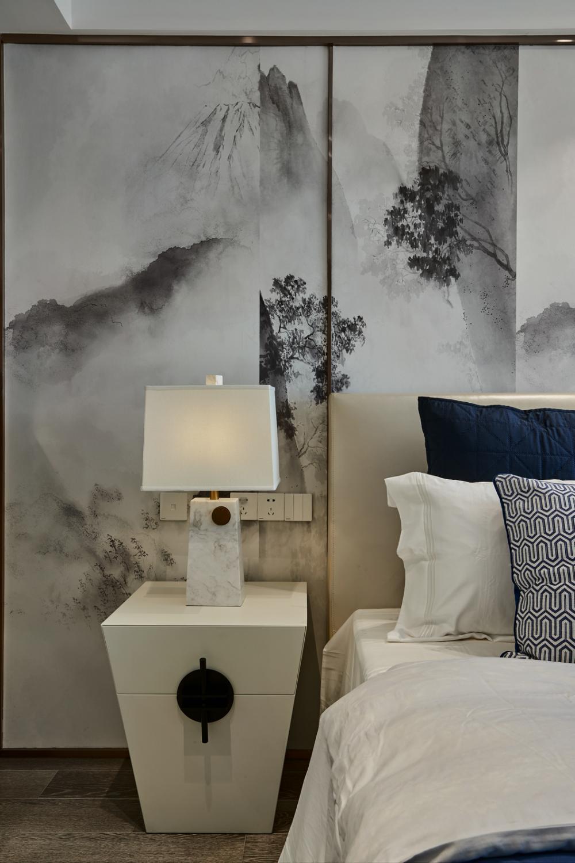 现代中式三居室主卧床头背景墙装饰效果图现代两层建筑设计图片