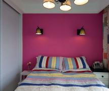 54平方混搭公寓臥室床頭背景墻效果圖