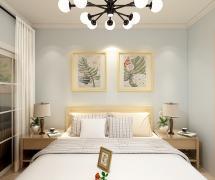小清新北歐小戶型之臥室床頭背景墻裝飾畫效果圖
