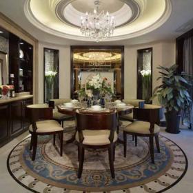 美式华美别墅圆形餐桌餐厅图欣赏