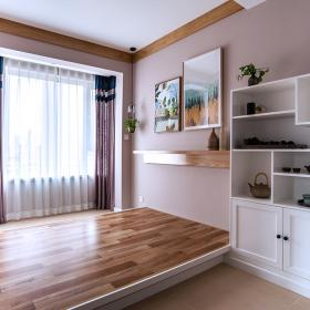 120平現代北歐三居之主臥榻榻米設計效果圖