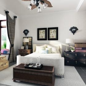 美式工業混搭三居之臥室色調裝飾效果圖