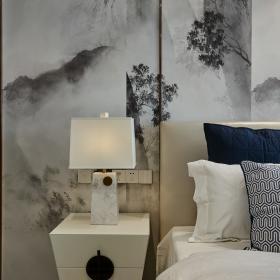 現代中式三居室主臥床頭背景墻裝飾效果圖