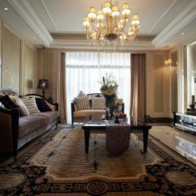 180平時尚歐式三居之客廳整體效果圖