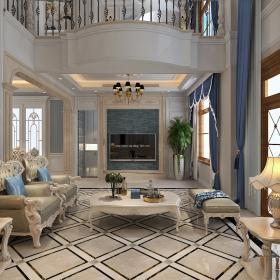 300平欧式大气别墅之会客厅电视墙设计效果图