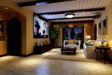 客廳沙發家庭影院美式鄉村茶幾電視柜別墅家庭影音娛樂室吊頂裝修效果圖