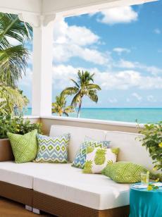 清新别墅阳台沙发抱枕美轮美奂的庭院设计,堪称完美天堂效果图