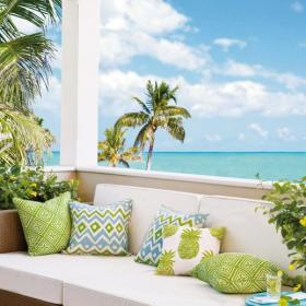 清新別墅陽臺沙發抱枕美輪美奐的庭院設計,堪稱完美天堂效果圖