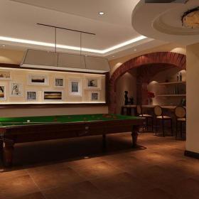臺球桌混搭墻面裝飾吊燈別墅地下室休閑娛樂室裝修效果圖