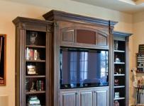 稳重原木色欧式开放式厨房家庭书柜图片效果图