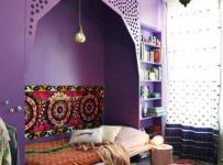 波西米亞異域風情的紫色臥室空間效果圖大全