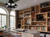 原木色91-120平米三居室创意欧式风格组合柜效果图