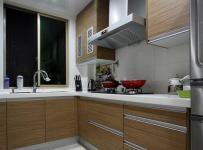 简约风格公寓温馨原木色富裕型厨房橱柜定制效果图