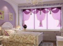 紫色背景墙韩式飘窗窗帘唯美紫色,演绎的浪漫卧室效果图