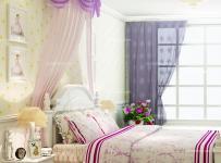 紫色背景墙窗帘紫色卧室背景墙唯美梦幻的韩式卧室装修装修效果图