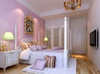 欧式田园风格卧室实木床图片紫色卧室背景墙纸装修图片效果图大全